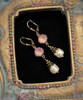 Cappuccino & Baroque Pearl Earrings with Crystal from Swarovski with Jewelry Gift Box