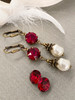 Ruby Red Crystal & Baroque Pearl July BirthstoneEarrings with Crystal from Swarovski with Jewelry Gift Box