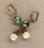 Green Crystal & Baroque Pearl Earrings with Crystal from Swarovski with Jewelry Gift Box