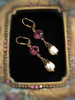 Purple Crystal & Baroque Pearl February Birthstone Earrings with Crystal from Swarovski with Jewelry Gift Box
