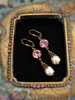 Pink Crystal & Baroque Pearl October Birthstone Earrings with Crystal from Swarovski with Jewelry Gift Box