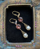 Vintage Crystal Pearl Earrings for Women with Jewelry Gift Box (Vintage Rose)