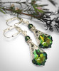 Green Crystal Earrings Vintage Style for Women with Jewelry Gift Box