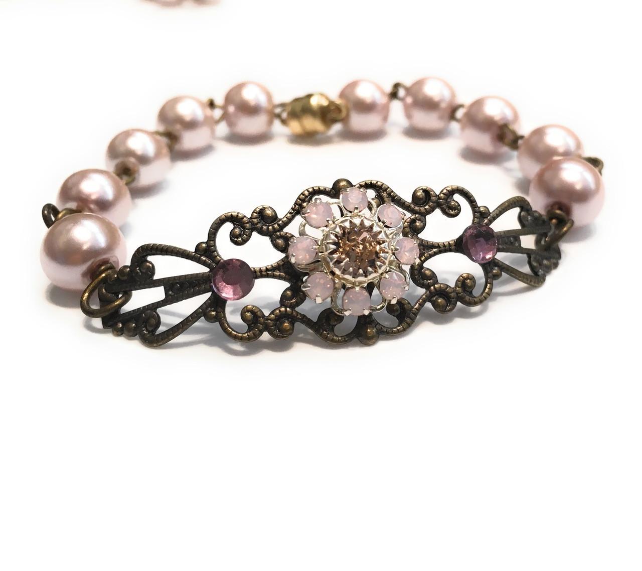 74ae3b432b382 Vintage Pink Faux Pearl Filigree Bracelet with Crystal from Swarovski Flower