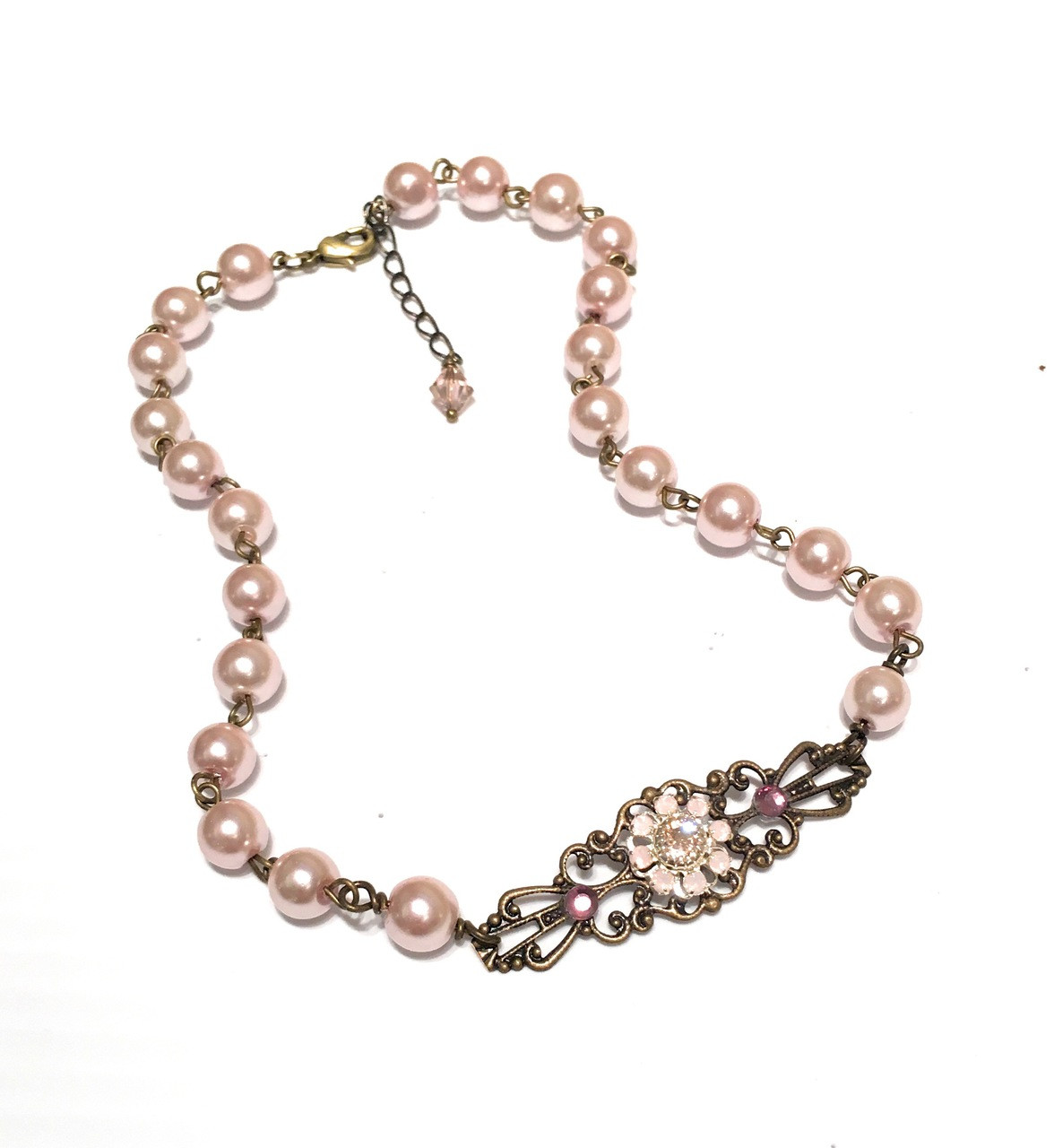 4238a8ebc5165 Vintage Pink Faux Pearl Boho Choker Necklace with Crystal from Swarovski  Flower