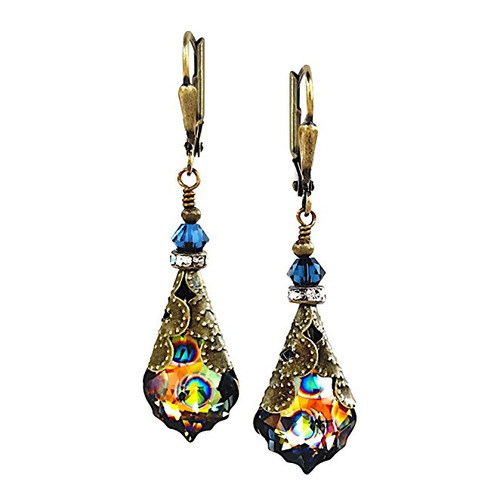 HisJewelsCreations Baroque Crystal Vintage Inspired Leverback Dangle Drop Earrings