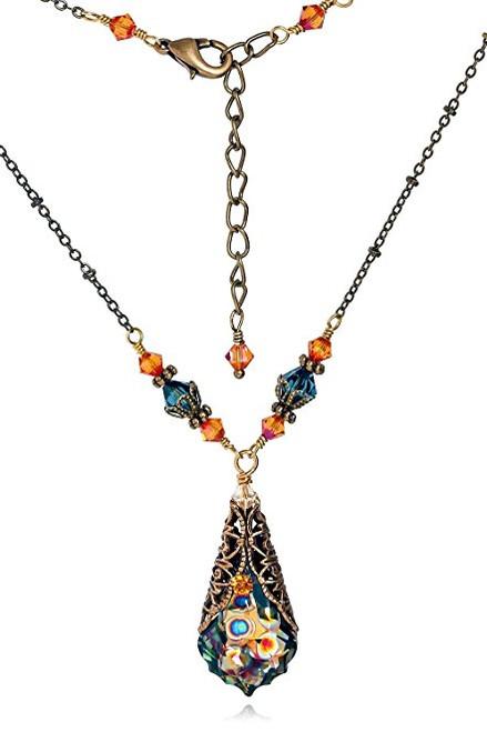 Peacock Baroque Crystal Goldtone Filigree Pendant Necklace