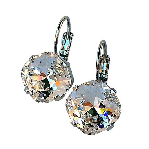 Clear Cushion Cut Large Stone Silvertone Earrings with Crystals from Swarovski
