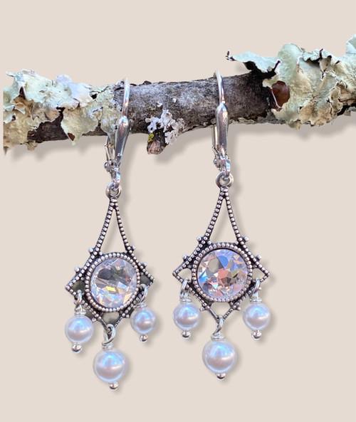 Vintage Inspired Rhinestone and Simulated Pearl Chandelier Earrings