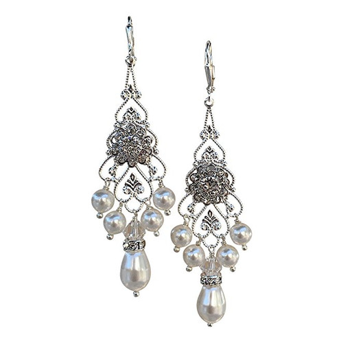 Bridal Crystal and Simulated Pearl Chandelier Earrings with Crystal from Swarovski