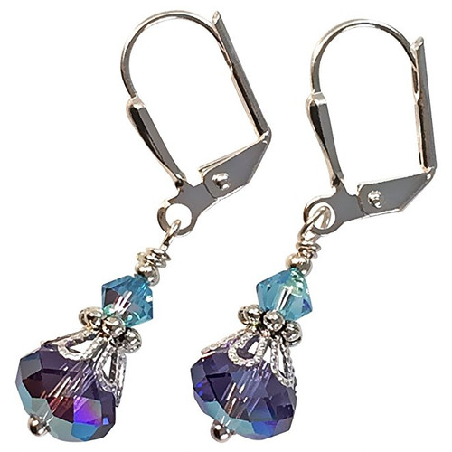 Ultra Violet Purple and Aqua Blue Crystal Vintage Boho Inspired Earrings