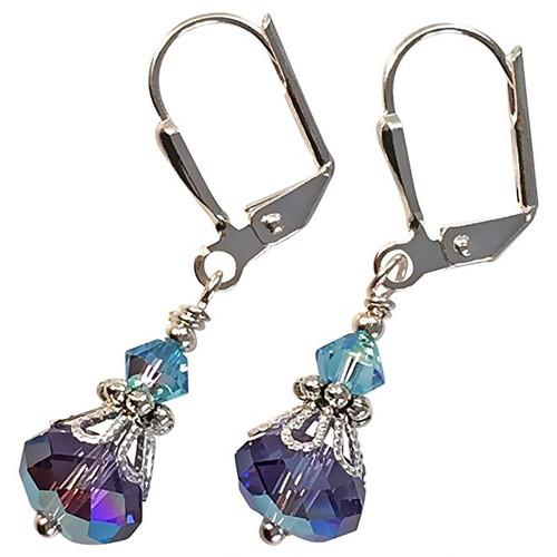 Ultra Violet Purple and Aqua Blue Crystal Vintage Boho Inspired Earrings