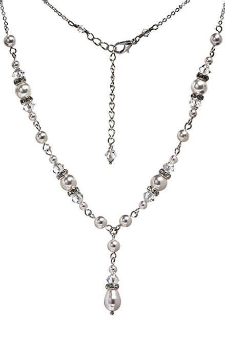 Bridal Crystal Simulated Pearl Rhinestone Teardrop Necklace with Crystal by Swarovski