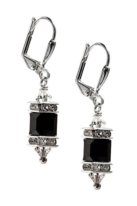 Jet Black Square Cube Crystal Rhinestone Earrings