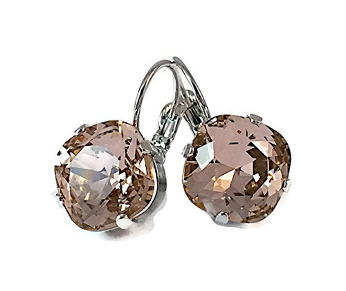 Vintage Rose Cushion Cut Large Stone Silver-Tone Earrings