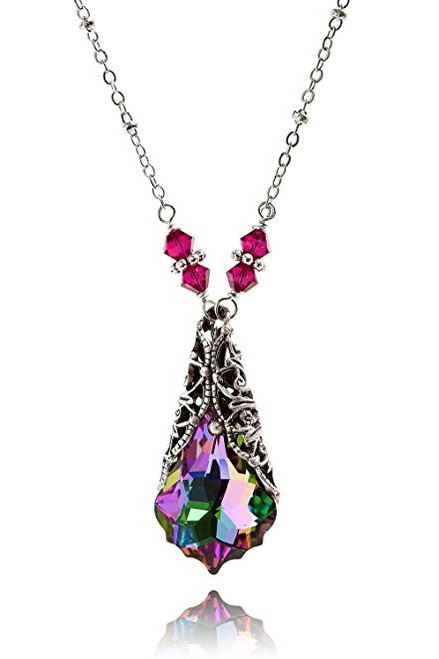 Electra Baroque Crystal Oxidized Silver-Tone Filigree Pendant Necklace