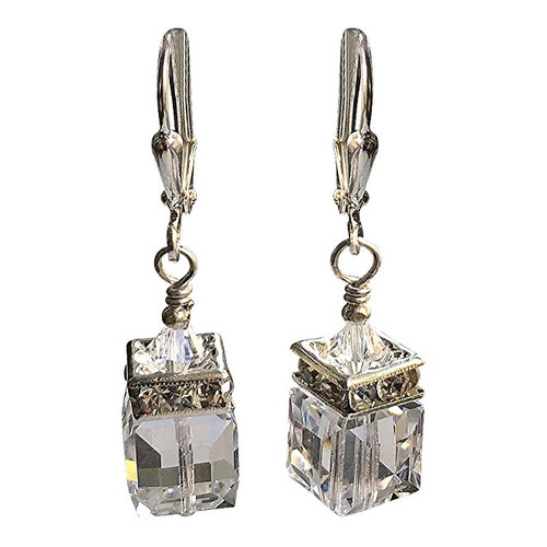 Bridal Clear Cube Rhinestone Earrings adorned with Crystals from Swarovski