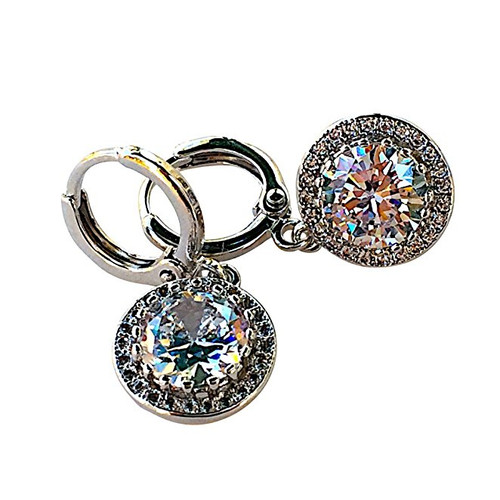 Simulated CZ Cubic Zirconia Round-Cut Halo Drop Leverback Earrings
