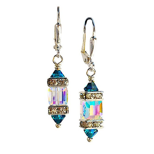 Clear Square Cube and Blue Crystal Rhinestone Squardelle Earrings
