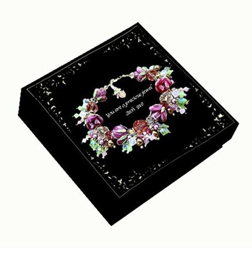Bridal Rhinestone Flower and Simulated Pearl Teardrop Crystal Necklace