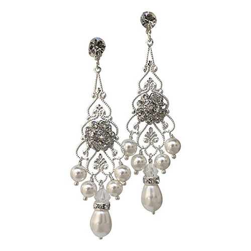 Wedding Chandelier Pearl and Crystal Earrings with Crystal from Swarovski
