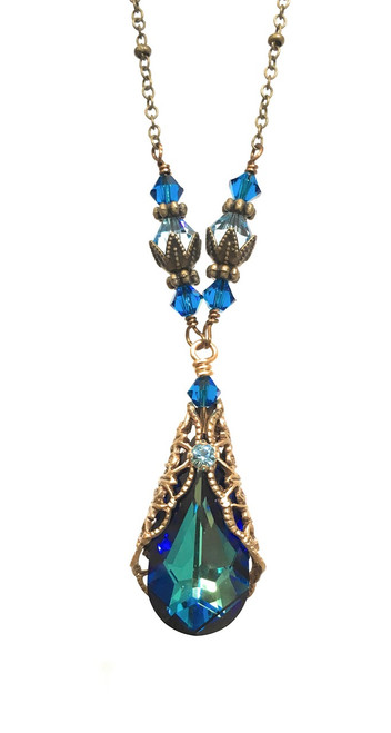 Bermuda Blue Teardrop Gold-Tone Filigree Pendant Necklace with Crystals from Swarovski