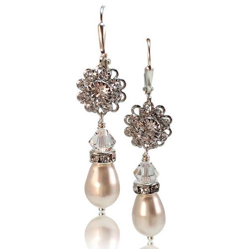 Bridal Flower Pearl Earrings Jewelry for Women