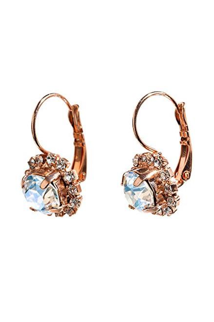 Bridal Crystal Moonlight Round Stone Filigree and Rhinestone Bridal Earrings