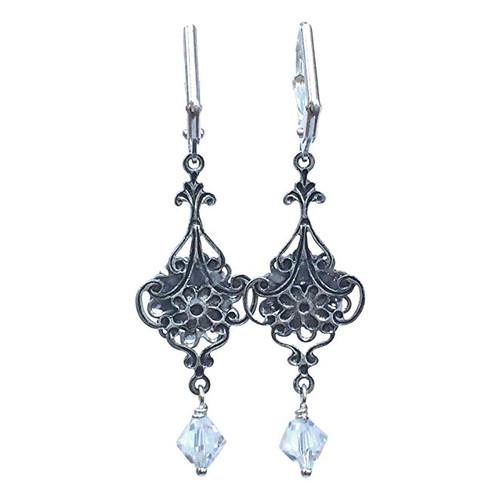 Bridal Vintage Inspired Rhinestone Flower Filigree Crystal Earrings