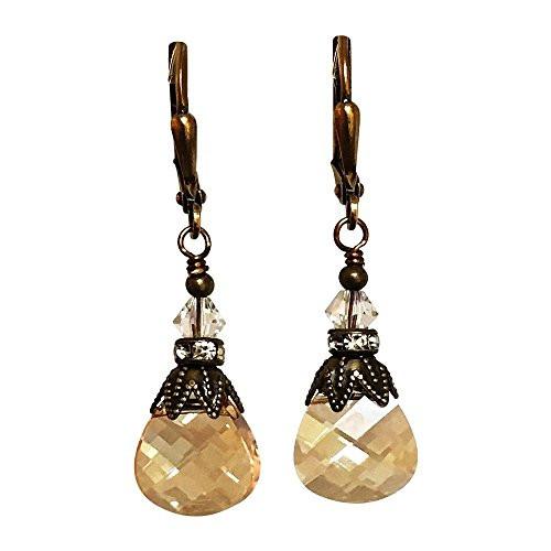 Golden Shadow Vintage Inspired Rhinestone Crystal Earrings