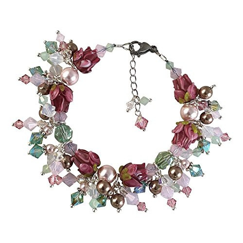 Rose of Sharon Glass Lampwork Crystal Cluster Bracelet with Crystals from Swarovski