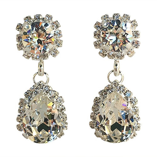 Bridal Teardrop Crystal and Rhinestone Earrings made with Crystal from Swarovski