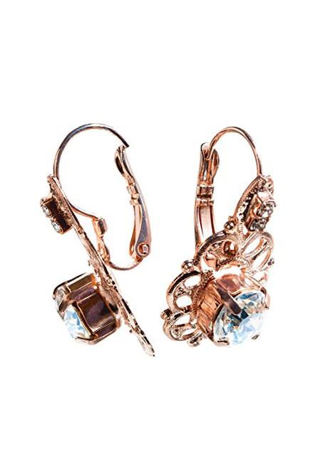 Bridal Round Stone Chaton Crystal Filigree and Rhinestone Earrings