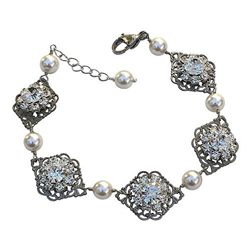 Bridal Vintage Inspired Filigree Rhinestone Flower Simulated Pearl Link Bracelet