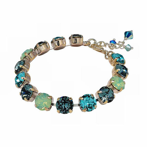 Multi-Color Aqua Crystal Blue Chaton Crystal Tennis Style Bracelet Jewelry for Women