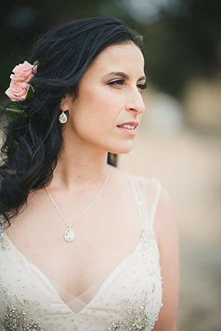 Bridal Teardrop Two-Tone Crystal Rhinestone Earrings