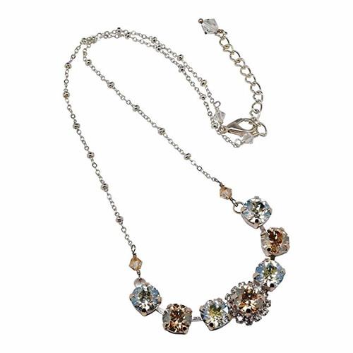 Bridal Rhinestone Golden Shadow and Crystal Moonlight Chaton Choker Necklace