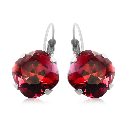 Scarlet Romantic Red Square Stone Cushion Cut Crystals from Swarovski Earrings