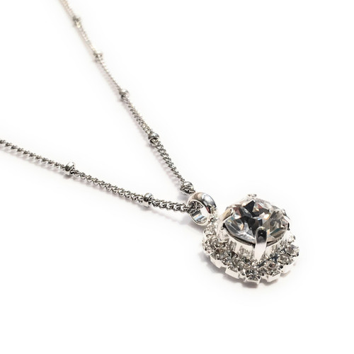 Bridal  Chaton Crystal Rhinestone Pendant Necklace with Crystals from Swarovski