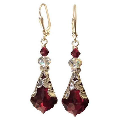 Romantic Red Vintage Inspired Baroque Crystal Earrings with Crystal by Swarovski