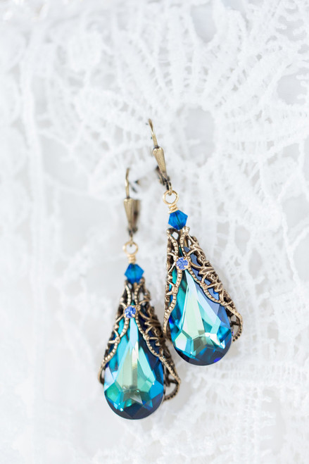Bermuda Blue Antique Bronze Teardrop Earrings with Crystal from Swarovski
