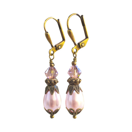 Pink Pearl and Crystal Earrings Antique Vintage Style Jewelry for Women with Gift Box