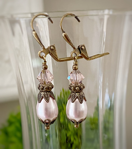 Simulated Pearl Earrings with Crystal by Swarovski