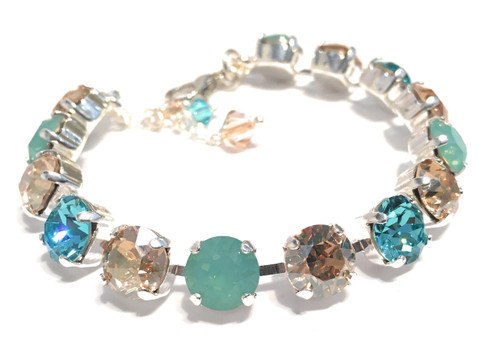 Pacific Opal Chaton and Golden Shadow Bracelet with Crystals from Swarovski