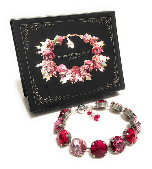 Red Pink and Rose Rivoli Bracelet with Crystals from Swarovski