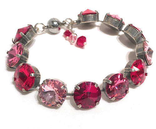 Red Crystal Bracelet Jewelry for Women Gift Bridal Mother of the Bride