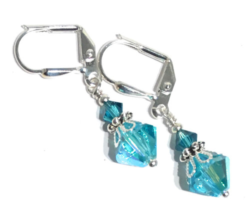 d724b42ec7950 Aqua Blue Bicone Silver-tone Filigree Dangle Earrings with Crystal ...