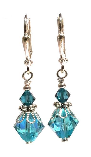 Aqua Blue Bicone Silver-tone Filigree Dangle Earrings with Crystal from Swarovski