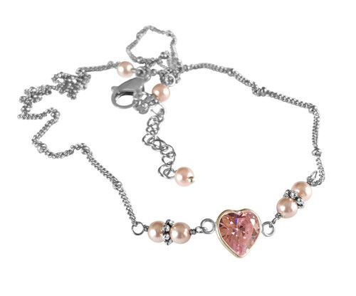 Pink CZ Mini Heart Simulated Pearl Choker Necklace