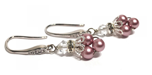 Pink Pearl Cluster Earrings for Women - Minimalist Jewelry with Gift Box